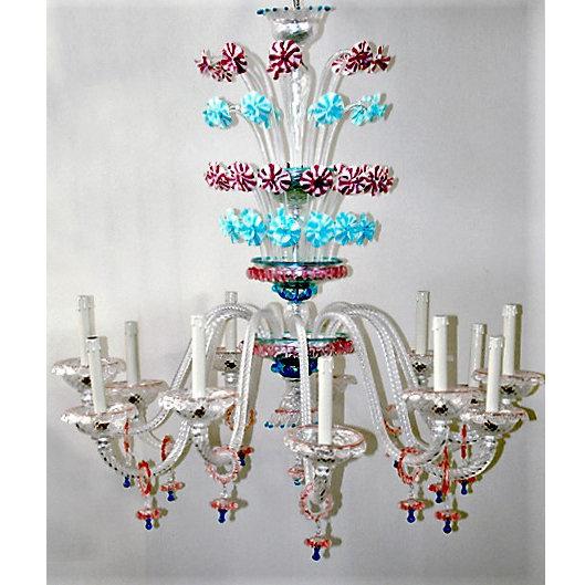 Suspension LED En Verre 'Murano' Fait Main'Arlecchino' 12 xE14
