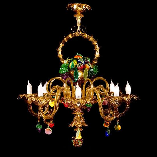 Suspension LED En Verre 'Murano' Fait Main'Canestro di Frutta' 8 x E14