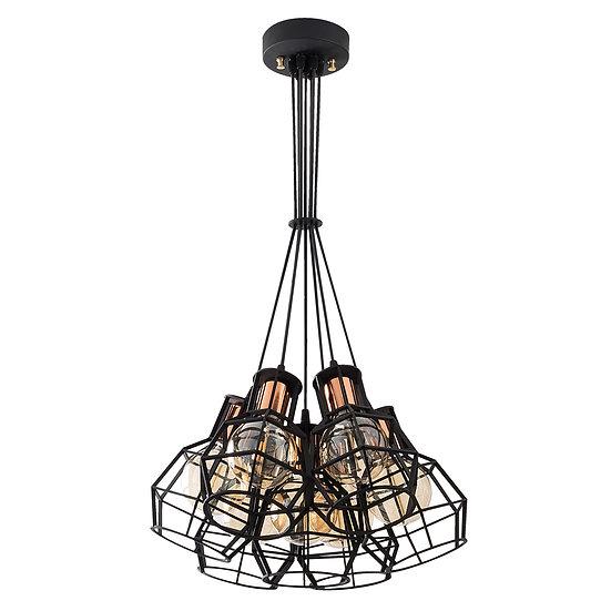Suspension LED 'Caujac'Noir 7 x E27