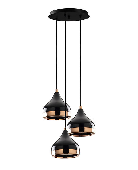 Suspension LED 'Haplincourt'Noir/Cuivre 3 x E27