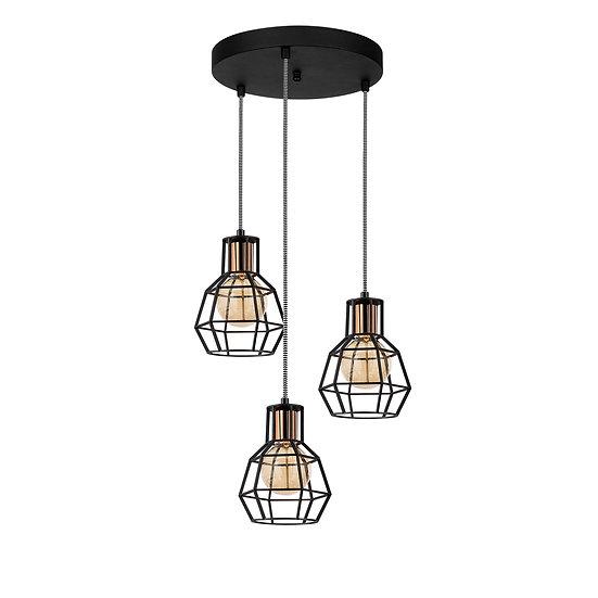 Suspension LED 'Caujac'Noir 3 x E27