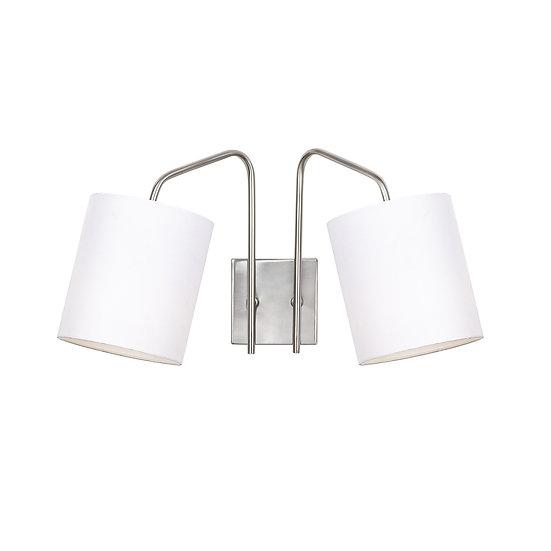Applique Murale LED 'Hesdin 6012'Nickel/Blanc Neutre 2 xE27