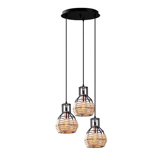 Suspension LED 'Etchebar'Noir/Pink/Or 3 x E27