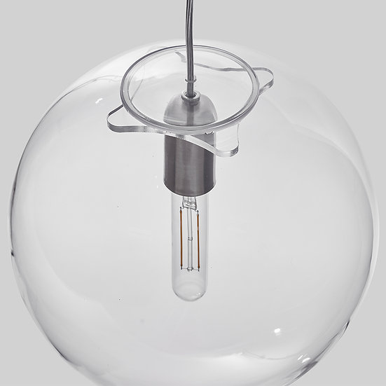 Suspension LED En Verre 'Sinceny' 300 mm Transparent 1 x E27 Avec Ampoule