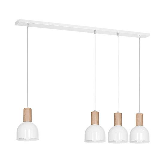 Suspension LED 'Cideville' 4 xE27 Métal +Bois Sans Ampoule