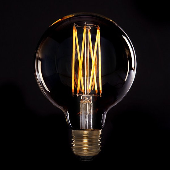 Ampoule Vintage LED Dimmable G95 'Saint-Brice-de-Landelles' 4W E27 Verre Ambré