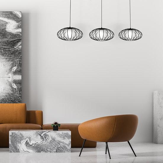 Suspension LED 'ForgeslesEaux' 3 xE27 Métal +Verre Sans Ampoule