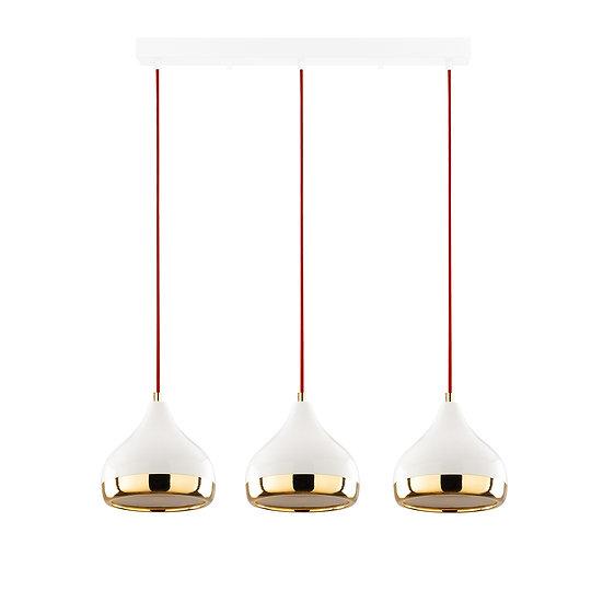 Suspension LED 'Haplincourt'Blanc/Rouge/Or 3 x E27