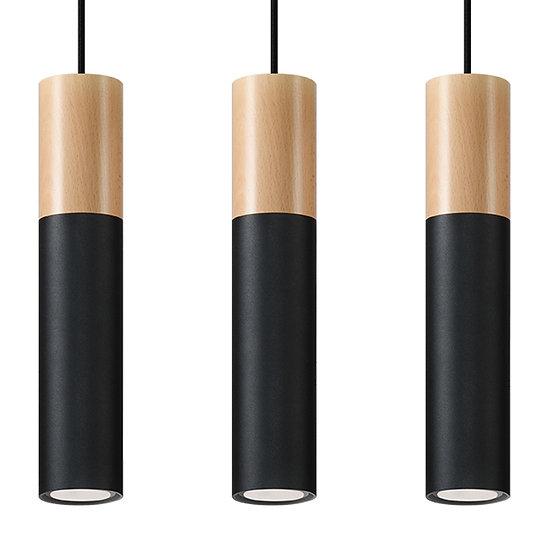 Suspension LED 'Dolignon'Noir/Bois IP20 3 xGU10 Sans Ampoule