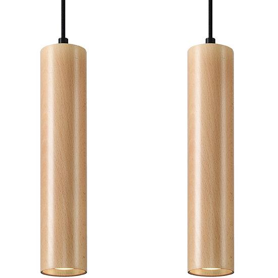 Suspension LED 'Droizy'Noir/Bois IP20 2 xGU10 Sans Ampoule