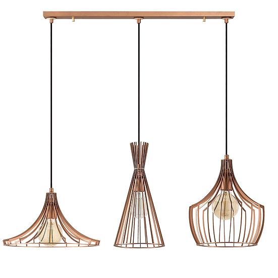 Suspension LED 'Castelmaurou' Cuivre 3 x E27