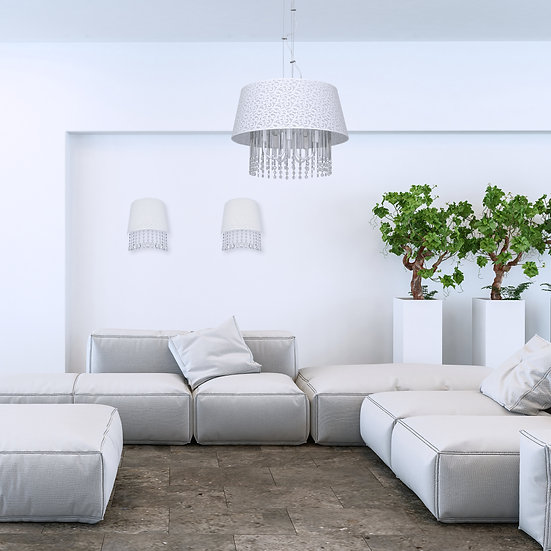 Applique Murale LED 'Boucé' 1 xE14 Métal +Verre + Textile Sans Ampoule