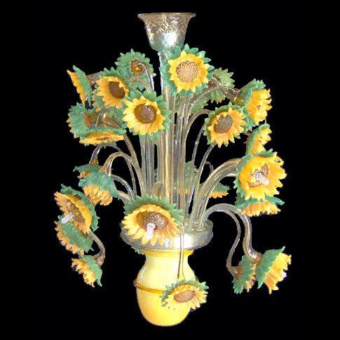 Suspension LED En Verre 'Murano' Fait Main'Girasoli Impressionismo'9 x G9