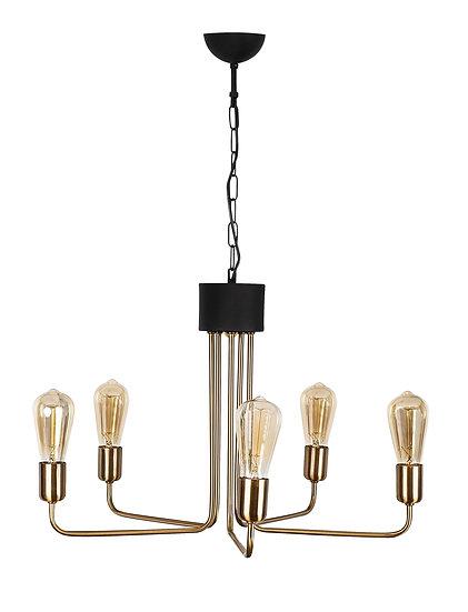 Suspension LED 'Gouves' Vintage/Noir 5 x E27