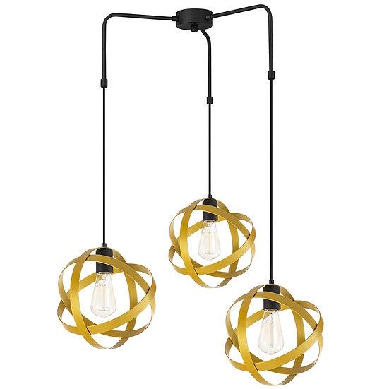 Suspension LED 'Guemps 6156'Noir/Or 3 xE27