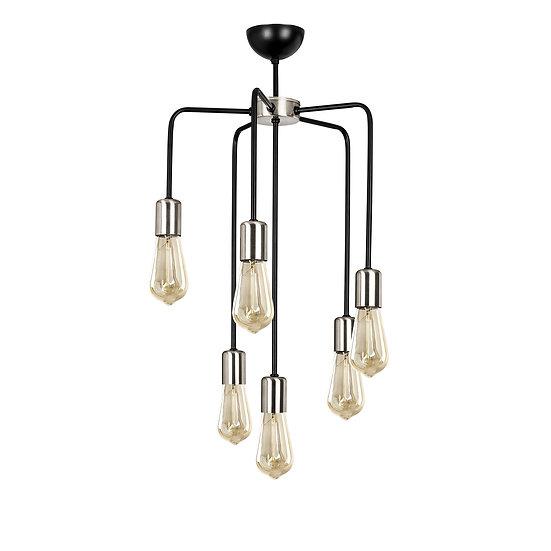 Suspension LED 'Gonnehem'Noir/Nickel 6 x E27