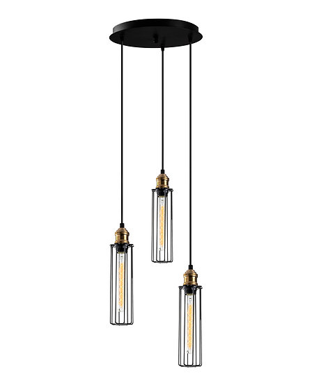 Suspension LED 'Crouseilles 04' Noir 3 x E27