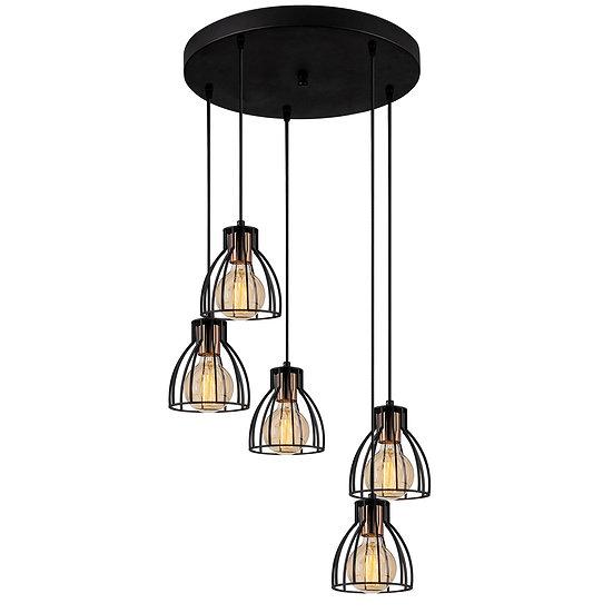 Suspension LED 'Cathervielle'Noir 5 x E27