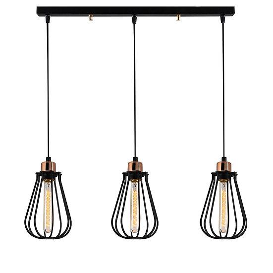 Suspension LED 'Cazaunous'Noir 3 x E27