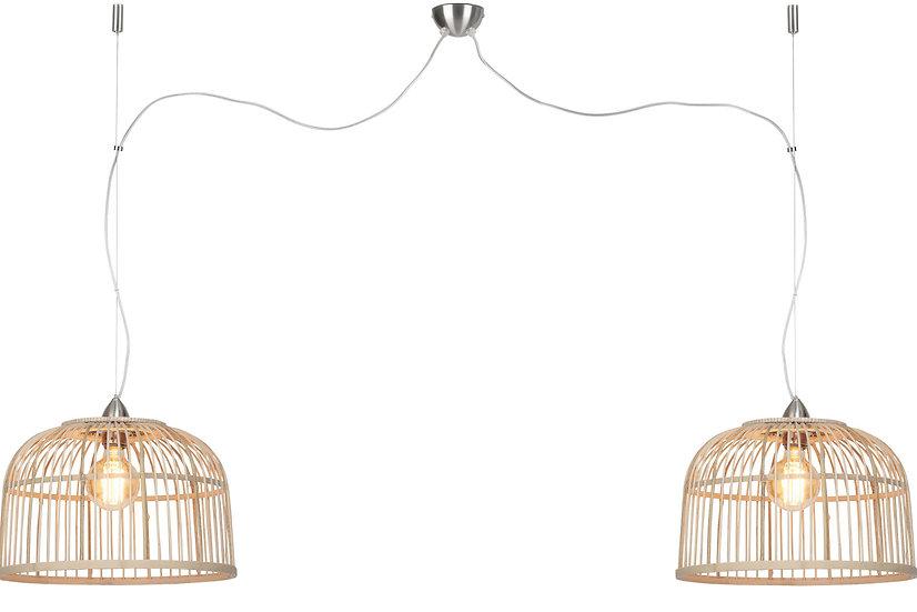 Suspension LED 'Gonnetot' Bambou Rond Ø42x32cm/Abat Jour Double