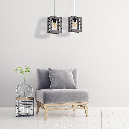 Suspension LED 'Chanu' 2 xE27 Métal +Bois Sans Ampoule