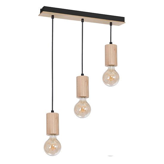 Suspension LED 'Cerneux' 3 xE27 Bois +Métal Sans Ampoule