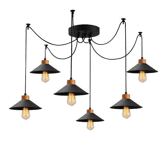 Suspension LED 'Hagetaubin'Noir 6 x E27