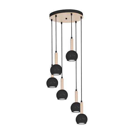 Suspension LED 'Cesson' 6 xGU10 Métal +Bois Sans Ampoule