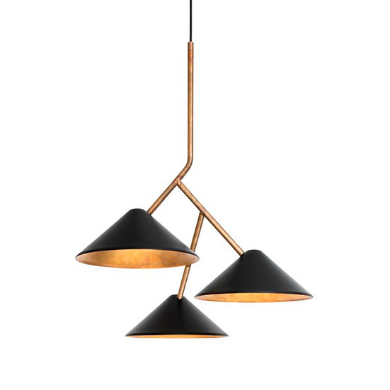 Suspension LED 'Galametz' Noir/Brass LED 3x5W Dimmable