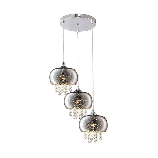 Suspension LED 'Forléans' 3 xE14 Métal +Verre Sans Ampoule