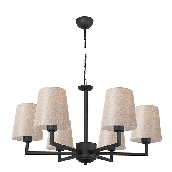 Suspension LED 'Guînes' Noir/Cream 6 x E27