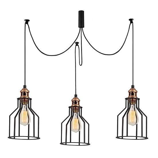 Suspension LED 'Cazères'Noir 3 x E27