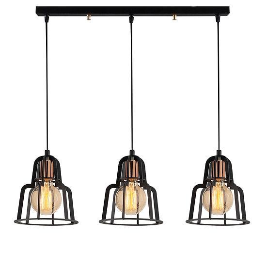 Suspension LED 'Cazac'Noir 3 x E27
