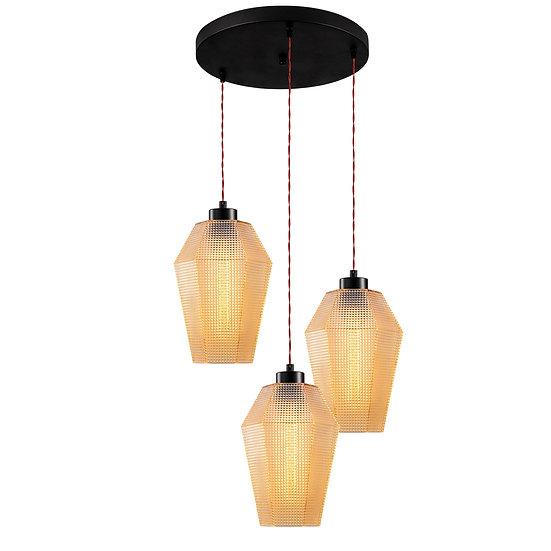 Suspension LED 'Guéthary'Noir 3 x E27
