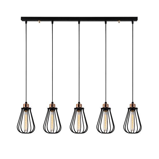 Suspension LED 'Cazaunous'Noir 5 x E27