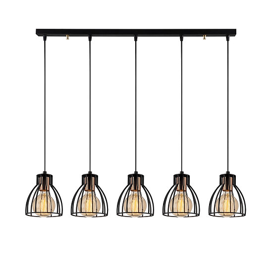 Suspension LED 'Cathervielle' Noir 5 x E27