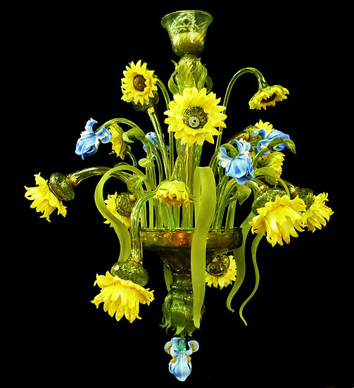 Suspension LED En Verre 'Murano' Fait Main'Girasoli Ed Iris' 9 x E14