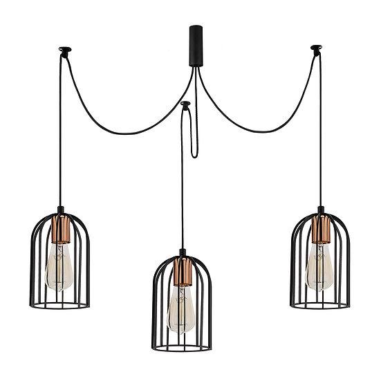 Suspension LED 'Caubiac'Noir 3 x E27
