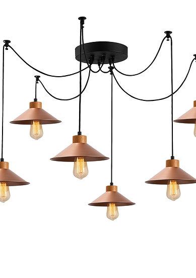 Suspension LED 'Hagetaubin' Cuivre 6 x E27