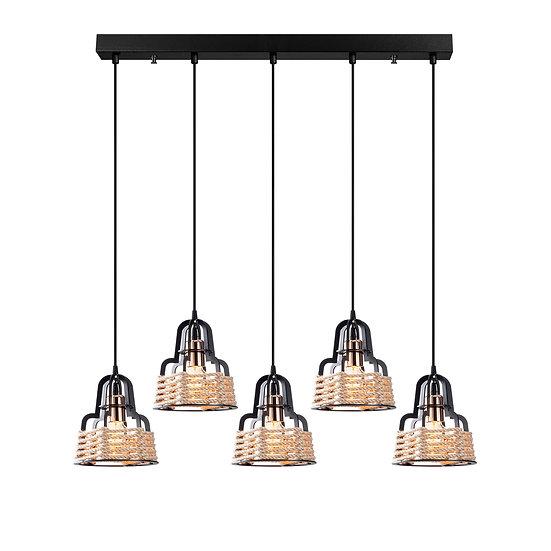 Suspension LED 'Etchebar'Noir 5 x E27