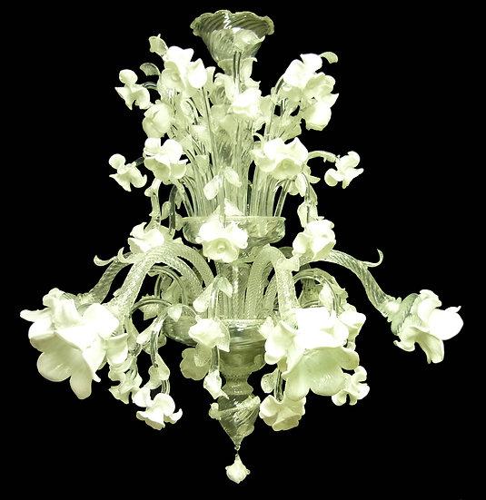 Suspension LED En Verre 'Murano' Fait Main'Roseto Bianco'6 x E14