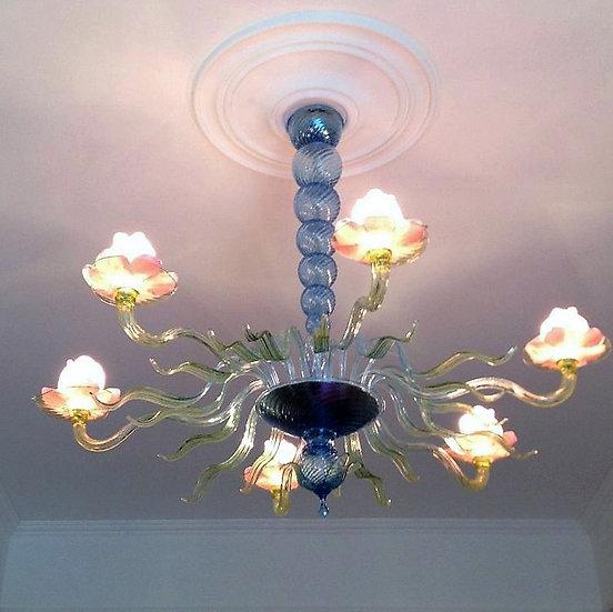 Suspension LED En Verre 'Murano' Fait Main'NinfeMonet'6 x G9