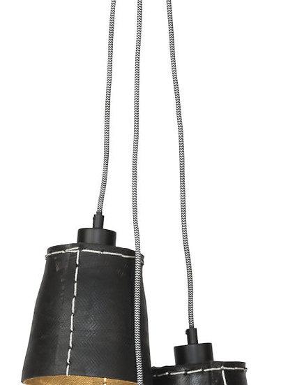 Suspension LED 'Grandcourt' Pneu Recyclé/3-Lamp shades 16xØ15cm S
