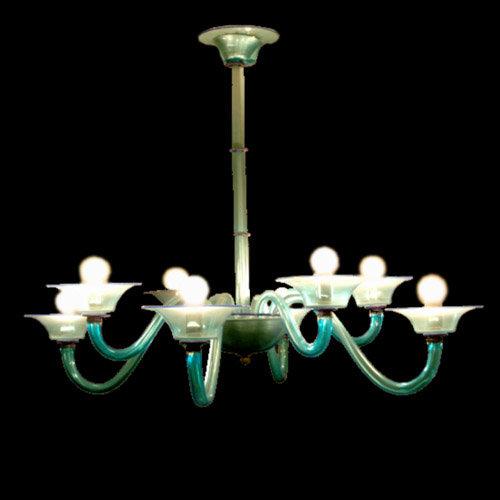 Suspension LED En Verre 'Murano' Fait Main'Acquamarina' 8 x E14
