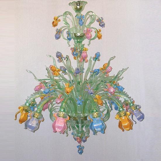 Suspension LED En Verre 'Murano' Fait Main'Iris Couleurato' 12 xE14