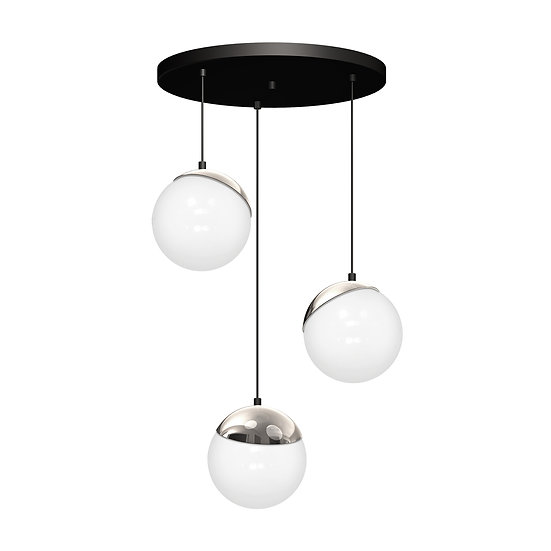 Suspension LED 'CannesÉcluse' 3 xE14 Métal +Verre Sans Ampoule