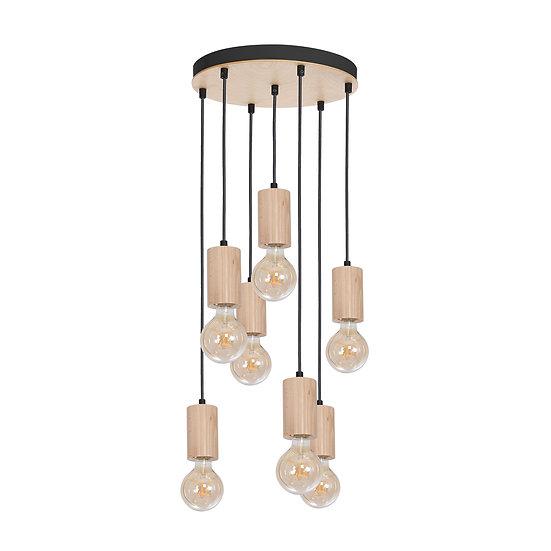 Suspension LED 'Cerneux' 7 xE27 Bois +Métal Sans Ampoule