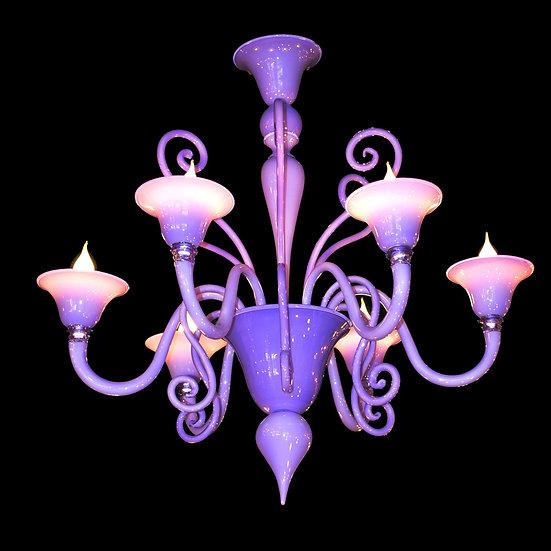 Suspension LED En Verre 'Murano' Fait Main'Riccio Lilla'6 x E14