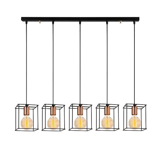 Suspension LED 'Caubous'Noir 5 x E27