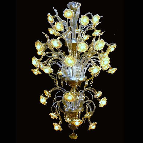 Suspension LED En Verre 'Murano' Fait Main'Girasoli' 48 x G4 x